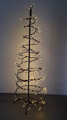 Metall Weihnachtsbaum beleuchtet Tannenbaum Weihnachten Spirale 150 cm schwarz Lichterkette warmweiß 360 LED indoor + outdoor IP44, 8 Funktionen, Baumspirale Weihnachtsbeleuchtung