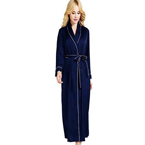 (no brand) primavera e l' estate sottile seta Lady vestaglia di seta confortevole casa vestito sexy glamour pigiama lungo abito accappatoio [Parallel input], Poliestere, Pink, medium Blue