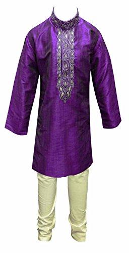 Lila indischen pakistanischen Jungen Sherwani Kurta Churidar Kamiz für Bollywood Thema & Party Kostüm 884 Gr. 0(6 Monate 1 Jahre), violett
