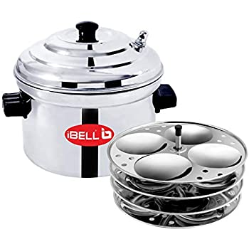 iBELL Stainless Steel 4-Plates Idly Cooker, Induction & Gas Stove Compatible Idli Maker (4-Plates   16 Idlys)