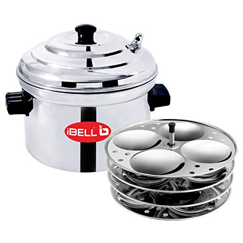 iBELL Stainless Steel 4-Plates Idly Cooker, Induction & Gas Stove Compatible Idli Maker (4-Plates | 16 Idlys)
