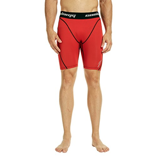 COOLOMG Herren Kompressionsshorts Funktionswäsche Tight Base Layer Hose Fitness Kurz Rot M