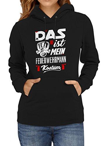 idung Feuerwehrmann Premium Hoody | Kostüm | Karneval Hoodies | Fasching | Frauen | Kapuzenpullover, Farbe:Schwarz;Größe:XXL (Günstige Feuerwehrmann Kostüm Ideen)