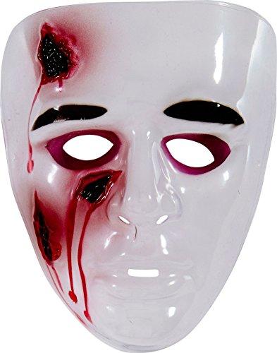 Blutige Maske mit offenen Wunden Halloween weiss-rot - Blutige Halloween-maske