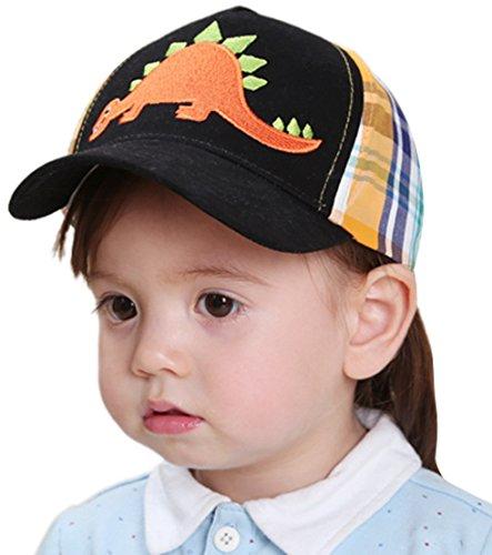 Happy Cherry Baby Hut Unisex Mädchen Jungen Sonnenhut Karierte Baumwolle Kids Mütze Sommer Kappen Sonnenschutz Schirmmütze Dinosaurier Drucken Babymütze Hat Größe 49 - Schwarz