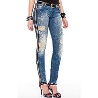 Cipo&Baxx WD369 Yırtık Eskitilmiş Şeritli Mavi Bayan Pantolon