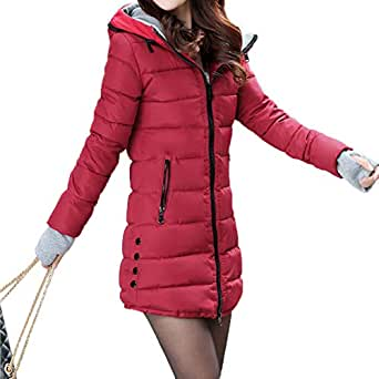 Alician Women Concise Lightweight Zipper Warm Jackets Hooded Cotton Coat for Winter