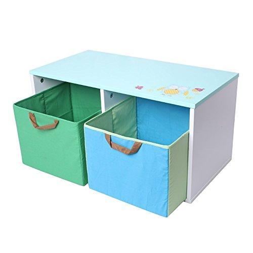 Labebe poragiochi/contenitore/baule dei giocattoli con 2 scatole, organizatore per vestiti, libri dei raggazi - verde & blu