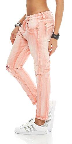 Skutari da donna–SKINNY pantaloni Jeans Destroyed paillettes Rosa 4