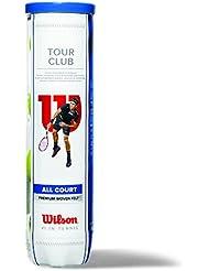 Wilson Balle de tennis Intérieur/Extérieur, Homologué ITF, Compétition et entraînement, Toutes surfaces, 4 Balles, Tour Club, Jaune, WRT114600