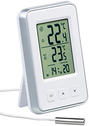 PEARL Außenthemperaturmesser: Digitales Innen- und Außen-Thermometer mit Uhrzeit und LCD-Display (Thermometer mit Aussenfühler)