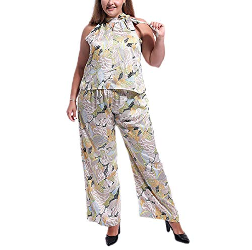 Topfly®; [Outsize] Damen Paisley Floral Neckholder Sommer Shirts + Flared Pants Suit 2 Gr. XXL, Multi