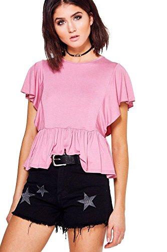 Dusky Pink Femmes Ivy Top À Basques En Jersey Manches Volantées Dusky Pink
