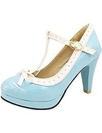 aac46803b33708 Agodor Damen T-Spangen High Heels Plateau Pumps mit Schnalle und Schleife  Rockabilly Schuhe