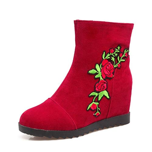 SHANGWU Damen Wedges Ankle Boots/Floral Print Boots Versteckte High Heel Sneakers Lace Up High Top Plattform Lässige Stiefel Pflanzenmuster Schuhe Größe (Farbe : Rot, Größe : 40) Floral Print Wedge