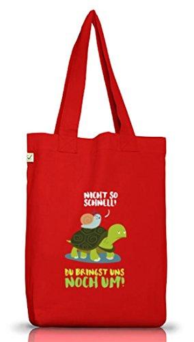 Turtle Jutebeutel Stoffbeutel Earth Positive mit Turbo Schildkröte Motiv Red