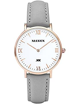 XLORDX Damen Herren Quarz Armbanduhr Minimalistic Modisch Zeitloses Design Klassisch Braun Leder 38mm