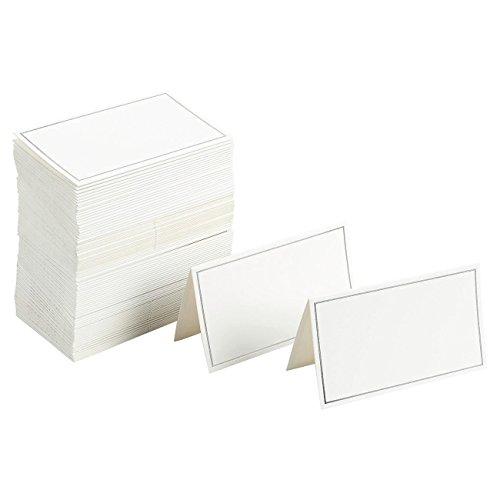 Juvale confezione da 100-segnaposto small tent cards, foldover segnaposto da tavolo silver foil border-perfetto per matrimoni, banchetti, eventi, 5,1x 8,9cm