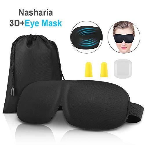 Schlafmaske, Nasharia 3D Augenmaske Nachtmaske Verstellbarem Gummiband Hautfreundlich Geruchneutral Schlafbrille für komplette Dunkelheit. Inklusive Ohrstöpsel & Aufbewahrungsbeutel