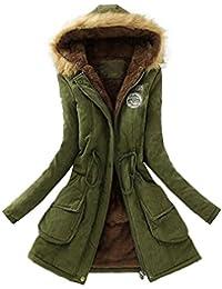 Amazon.es  Parkas Mujer verde militar con capucha pelo - Mujer  Ropa ca276dcebe2f