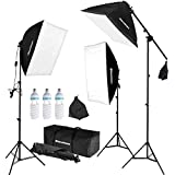 "Il pacchetto include: (3) x Excelvan 20 ""x25"" Riflettore Softbox con portalampada E27 (3) x Excelvan 80 ""Stand luminoso da studio con stroboscopi flash ad incasso (3) x Excelvan Photo Light Bulb 135W 5500K Daylight bilanciato luce bianca pura (1) x K..."