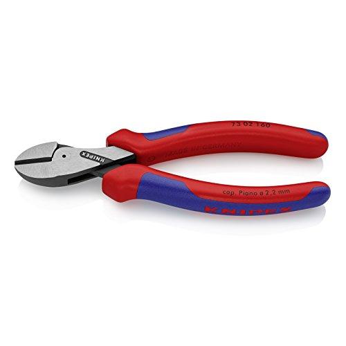 KNIPEX 73 02 160 X-Cut® Kompakt-Seitenschneider hochübersetzt schwarz atramentiert mit Mehrkomponenten-Hüllen 160 mm