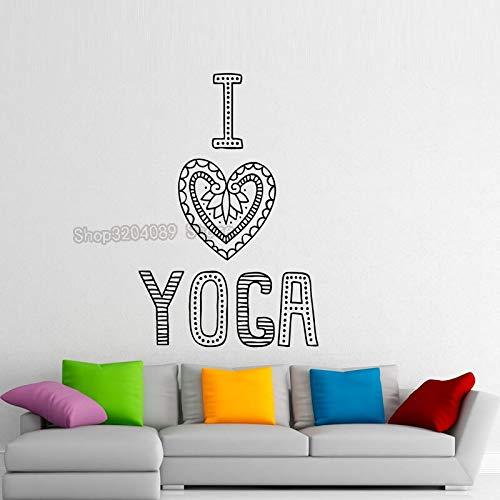 woyaofal Ich Liebe Yoga abnehmbare Aufkleber Dekoration Moderne Kunst Design Vinyl Kunst wandtattoos für Wohnzimmer Schlafzimmer 58x89 cm