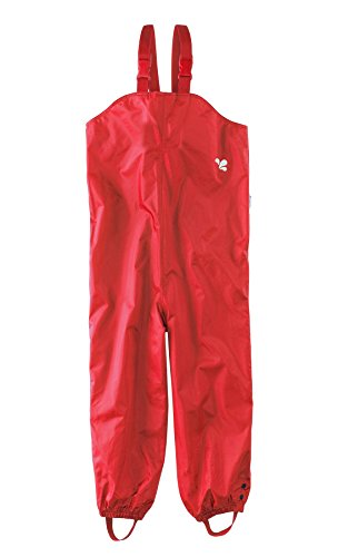 Childrens - Waterproof Dungarees - Red Protective kids overalls rainwear Snow PUDRED-Age 5/6