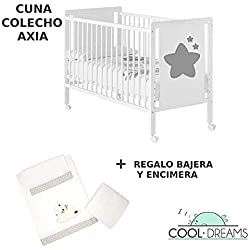 Cuna colecho de bebé Axia (5 alturas de somier) + kit colecho incluído + 4 ruedas + REGALO Cool-Dreams