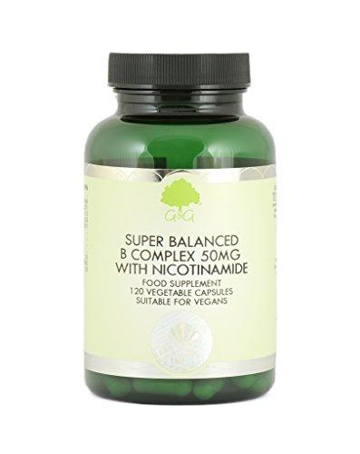 B-50 B-complex Vitamin (Super Balanced Vitamin B Complex with 50mg of Nicotinamide 120 veg. Kaps GG (vegan))