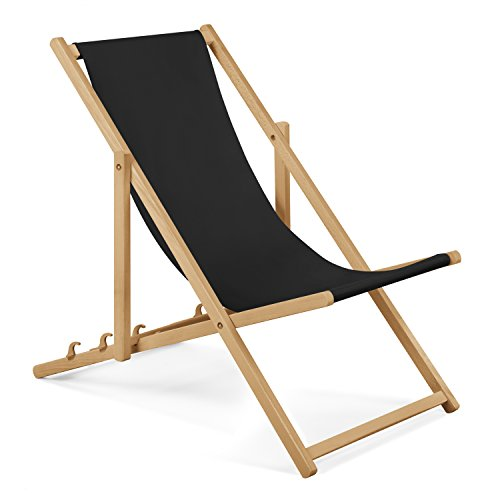 Chaise longue de jardin en bois - Fauteuil Relax - Chaise de plage Noir