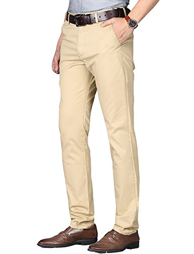 Kuson Herren Designer Chino Stretch Stoffhose Chinohose Regular Fit Casual Hosen mit Stretch Kahki 36