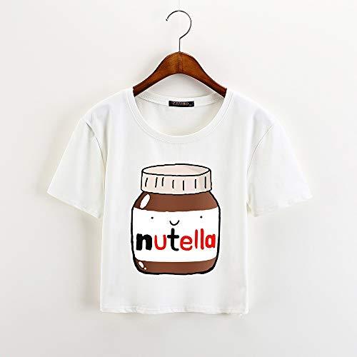 Tante Cute Frauen T-shirt (XIAOBAOZITXU New Cute Print White Crop Tops Frauen Sommer Kurzarm T-Shirt Tops des Süßen Mädchens XXL)