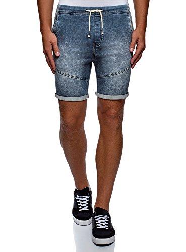 oodji Ultra Homme Short en Jean avec Liens, Bleu, W30/FR 38