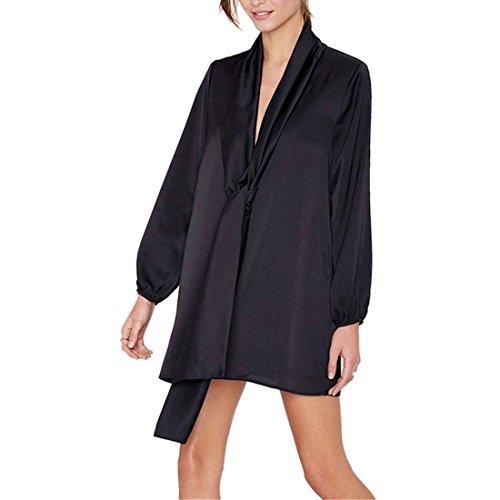 Europa Womens schwarze lange HUElsen ZurUEck V Form aushOEhlen lose kurze Kleid XS XXL Schwarz