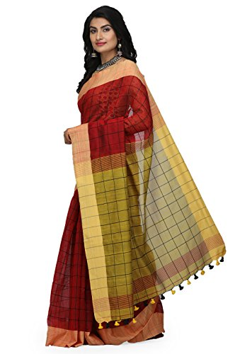 The Weave Traveller Handloom Women's Hand Woven Check Saree With Attached Blouse