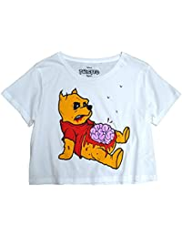 Twisted Apparel Zombie Pooh White Crop Top T Shirt Alternative emo scene