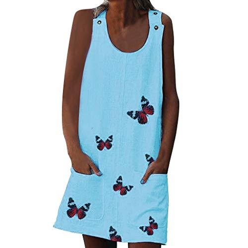 LOPILY Sommerkleider Damen Kleider Lose Tunika Schmetterling Blusenkleider mit Taschen Lässige Punkt Gedruckter Strandkleid Knielang Tunika Tshirt Kleid Bluse mit Polka Dots (X2_Blau, EU-42/CN-2XL)