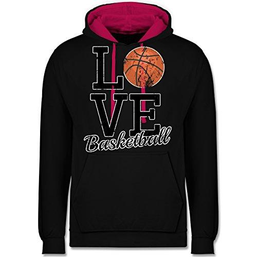 Basketball - Love Basketball - Kontrast Hoodie Schwarz/Fuchsia