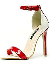 GLTER Mujeres bombas de correa de tobillo Verano palabra nueva abierto-Toed hebilla de tacón alto sandalias de lucha zapatos de corte , red , 35