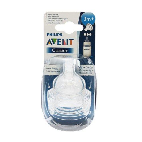 mittlerer Nahrungsfluss 3m+ Sauger SCF633//27 Philips Avent Anti-colic Klassik 2er Pack