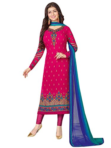Monika Silk Mill Elegent Pink Color Georgette Embroidered Salwar Suit