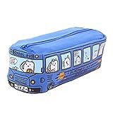 Sac à Stylos Trousse à Crayons Scolaire Toile, Bus Dessin Animé Étudiant Crayon Étui pour Mâle Femelle Papeterie École Maternelle - Bleu