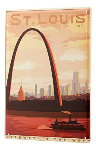 Harvesthouse St. Louis Gateway Arch Vintage Metal Tin Signs for Home Kitchen Wall Art Pub Bar Decor 12 X 16 -