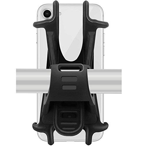 Fahrrad Silikon Verstellbarer Fahrradhalterung für Smartphones mit der Bildschirmgröße von 4-6 Zoll, Ideal für Fahrradlenker, Mountainbike, Rennrad, Motorrad, Kinderwagen Schwarz ()