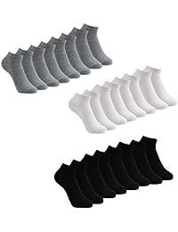Caudblor 12 Pares Show calcetines de corte bajo de algodón para hombres y mujeres, blanco/gris / negro