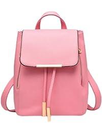 F9Q Femmes Casual PU cuir Voyage Sac à dos école Solid Color Shoulder Bag