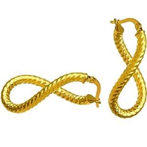 Citerna 9 ct Yellow Gold Diamond Cut Oval Twist Hoop Earrings
