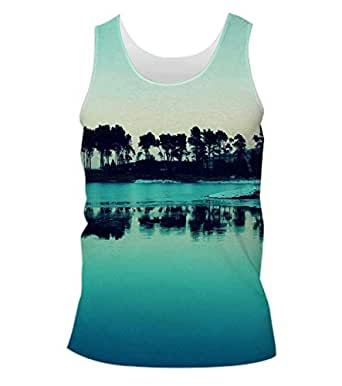 Snoogg Visit Goa Evenings Mens Casual Beach Fitness Vests Tank Tops Sleeveless T shirts