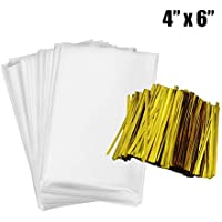Cellophane Bags 200 PCS Party Favor Gift Bags with Twist Ties Flat Treat Bag for Sweet and Cookies (4 x 6 INCH)